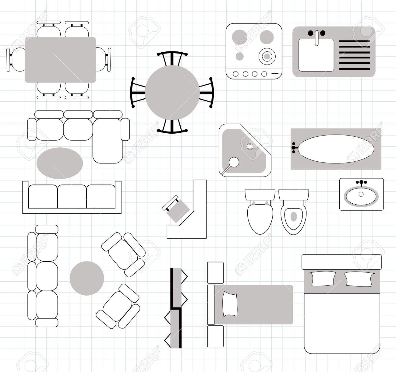 interior design floor plan with furniture illustration