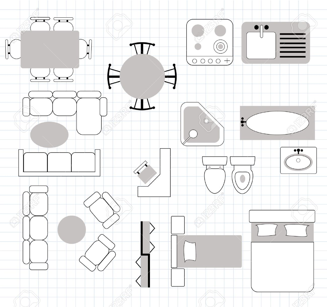 floor plan with furniture - 26161160