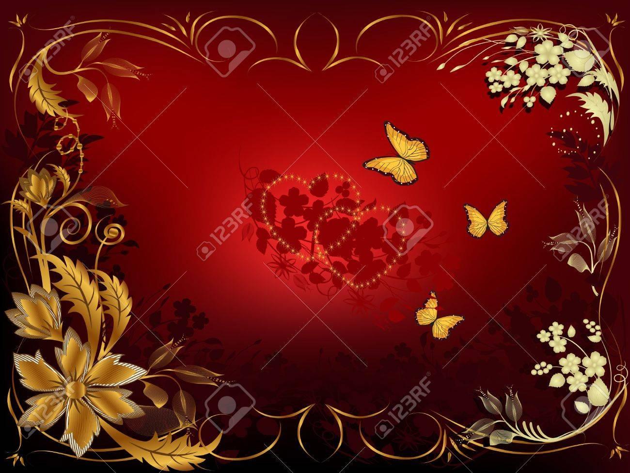 Karte Begrüßung Für Valentinstag Mit Einer Blume-ornament ...