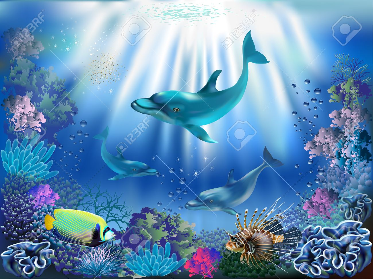 The underwater world with dolphins and plants royalty free cliparts the underwater world with dolphins and plants stock vector 44261649 publicscrutiny Images