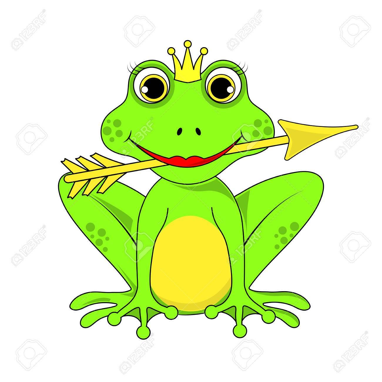 Grenouille Couronne couronne grenouille princesse avec la flèche sur fond blanc dans le