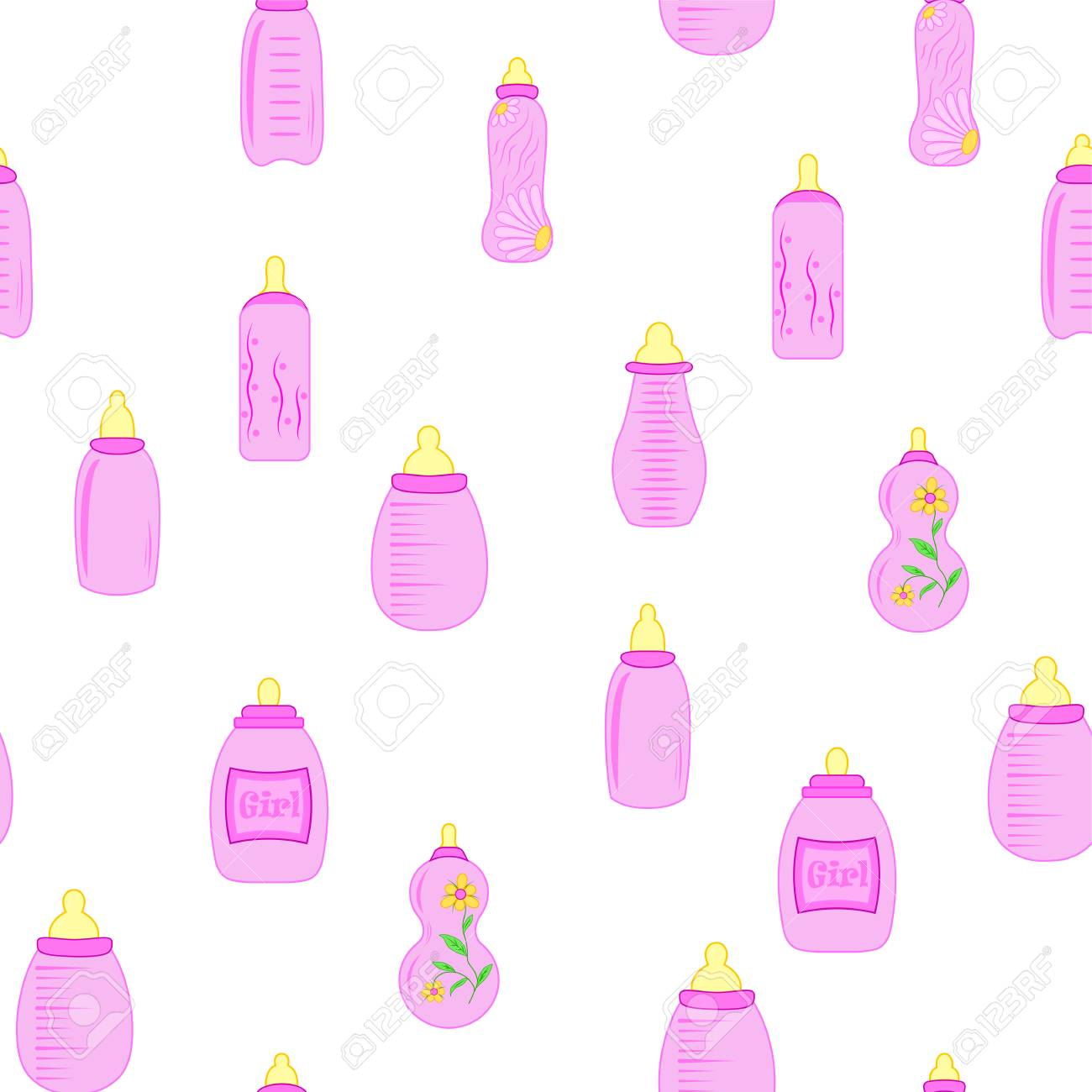 Botella Bebé. Patrón Sin Costuras Para Niños Niñas. Ilustraciones ...