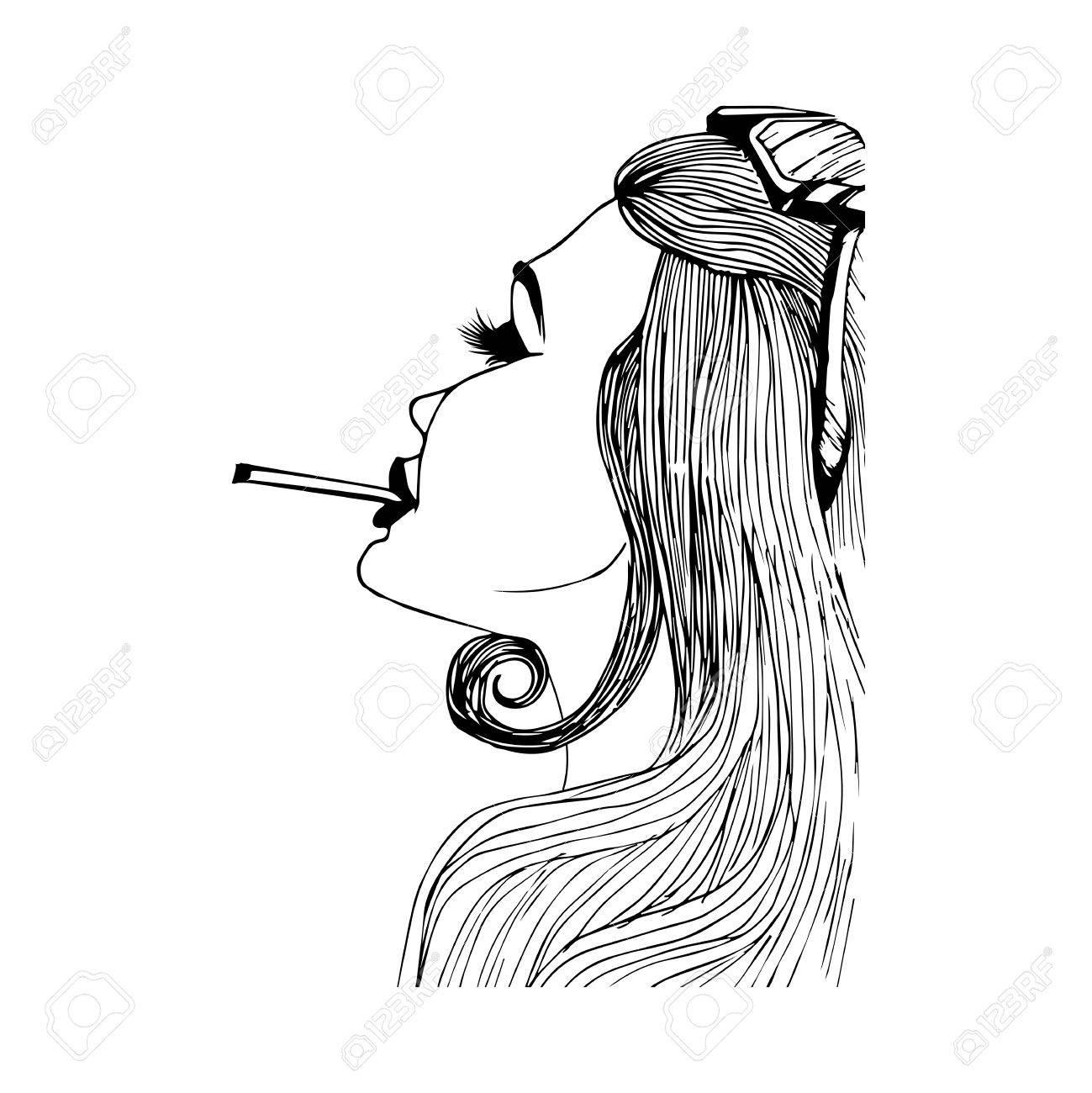 Vettoriale La Ragazza è Dipinta A Mano Con Sigaretta Su Uno Sfondo