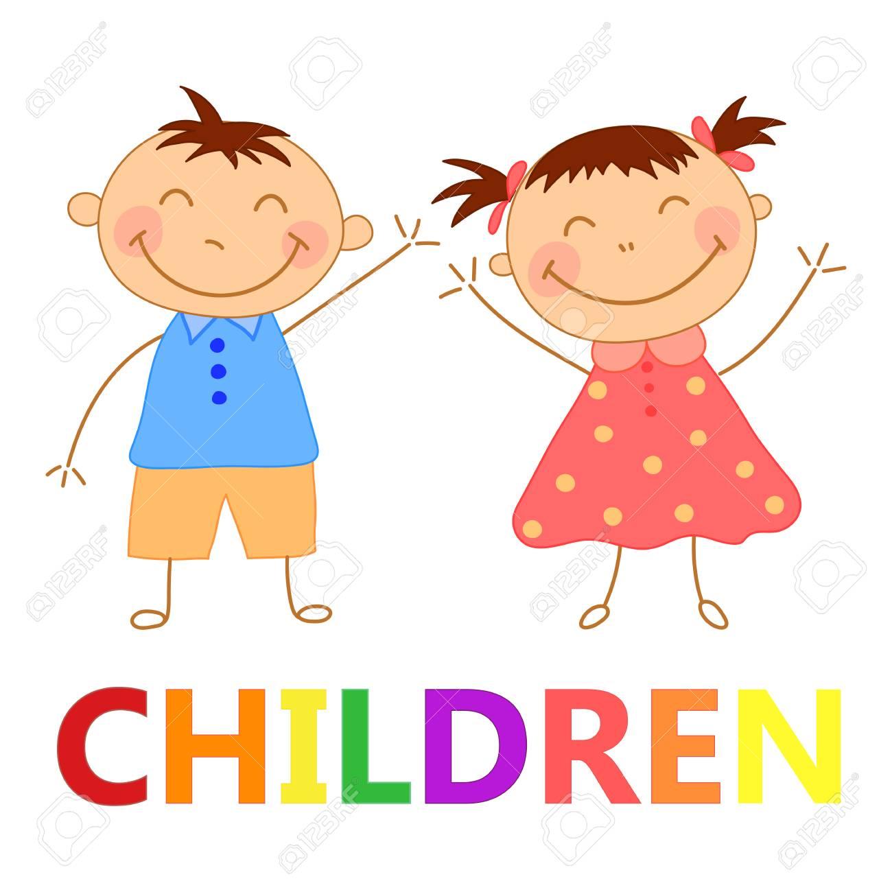 手描きの女の子と男の子のセット 子供の本のイラスト 簡単な絵だかわいい赤ちゃんのイラスト素材 ベクタ Image