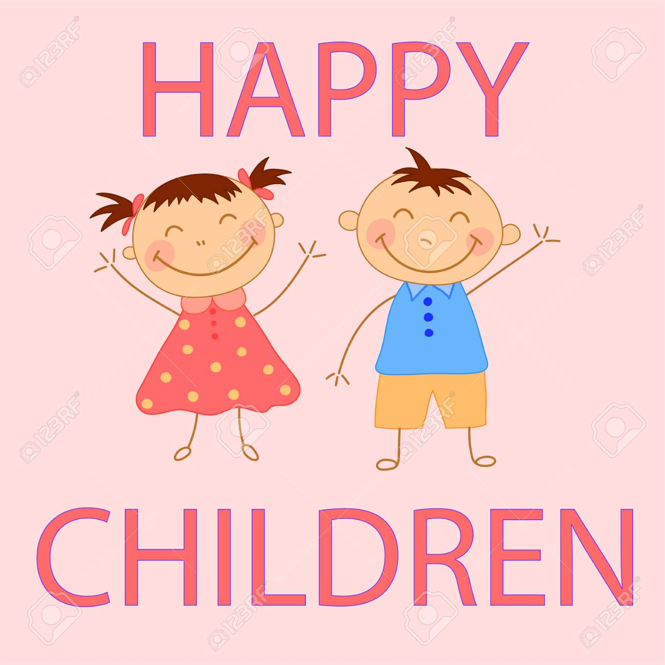 Kids Waving Their Hands A Boy And A Girl Greeting Card For Childs