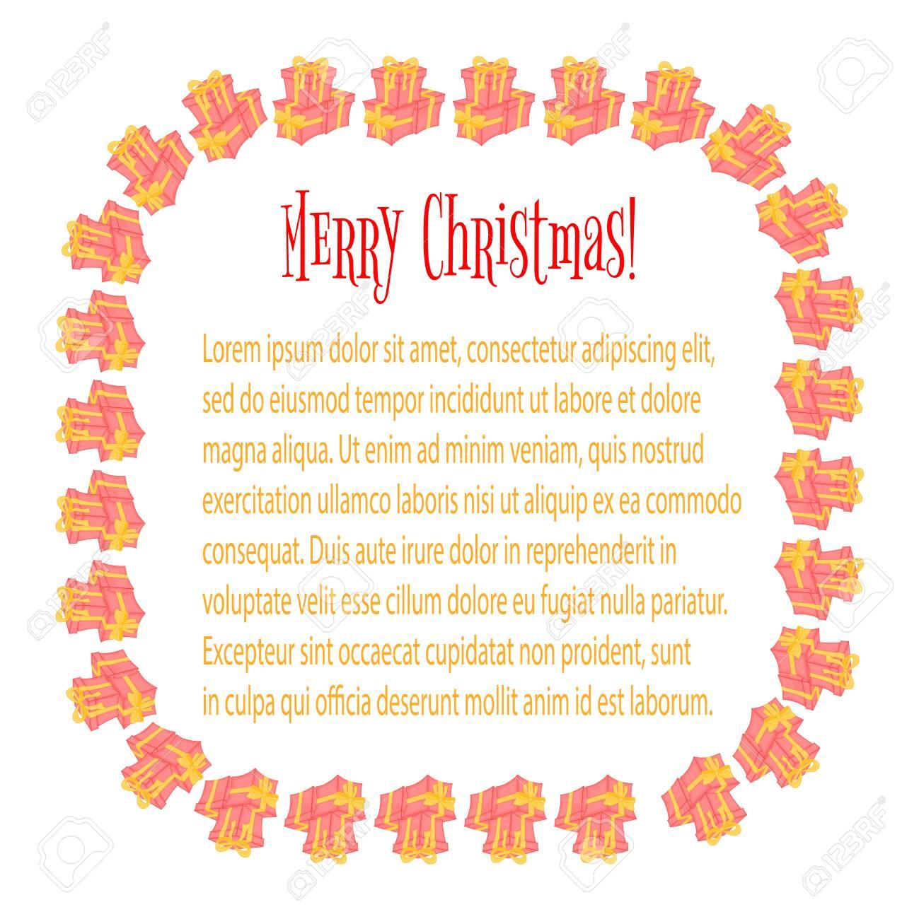 Cadre Pour Une Photo Cartes Avec Des Cadeaux De Noël Et Des Sacs De Père Noël Boîtes Mignonnes Pour Lanniversaire Et La Saint Valentin Modèles