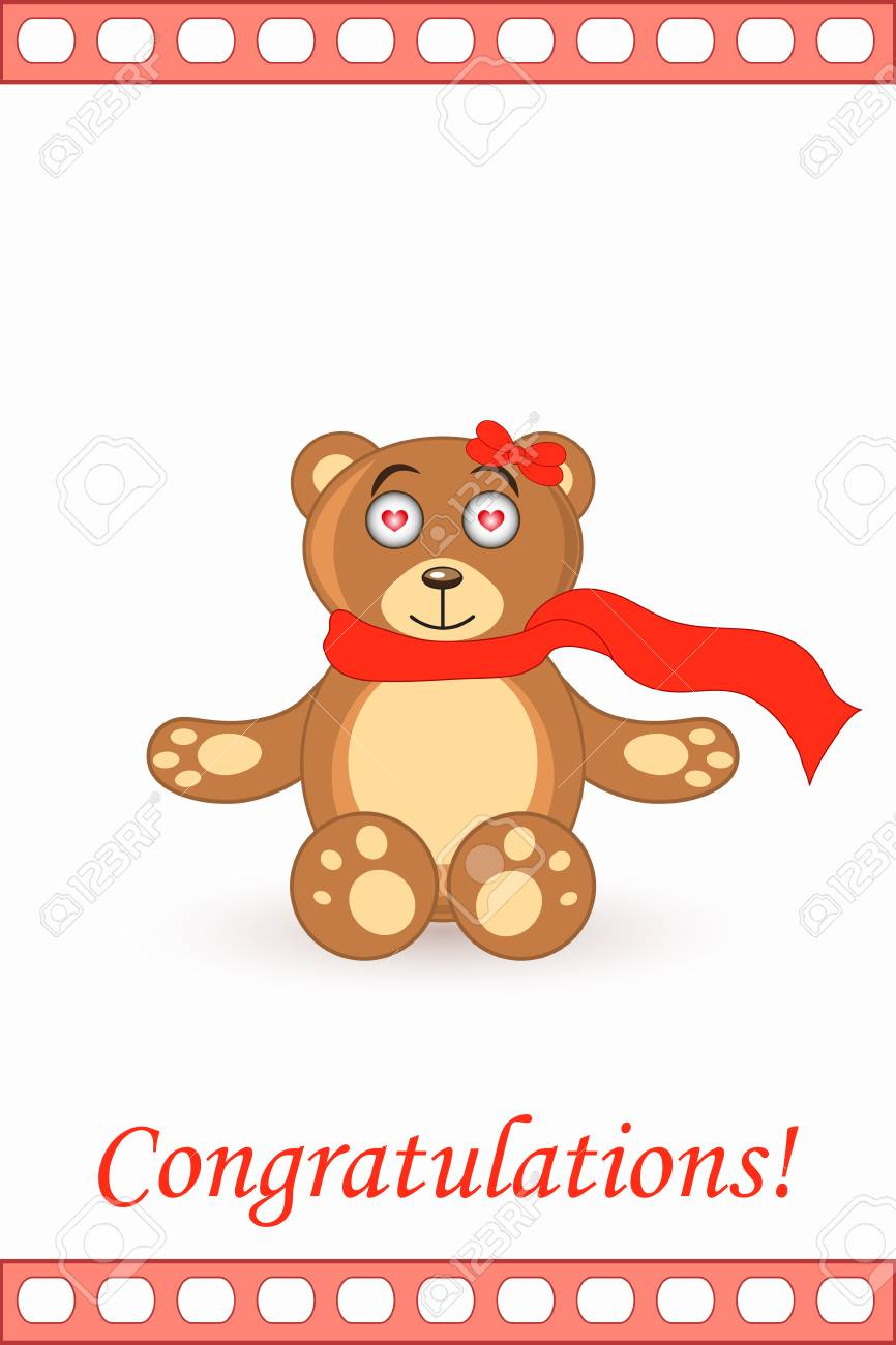 Cute Bear Teddy Card Greeting Happy Holiday Royalty Free Cliparts