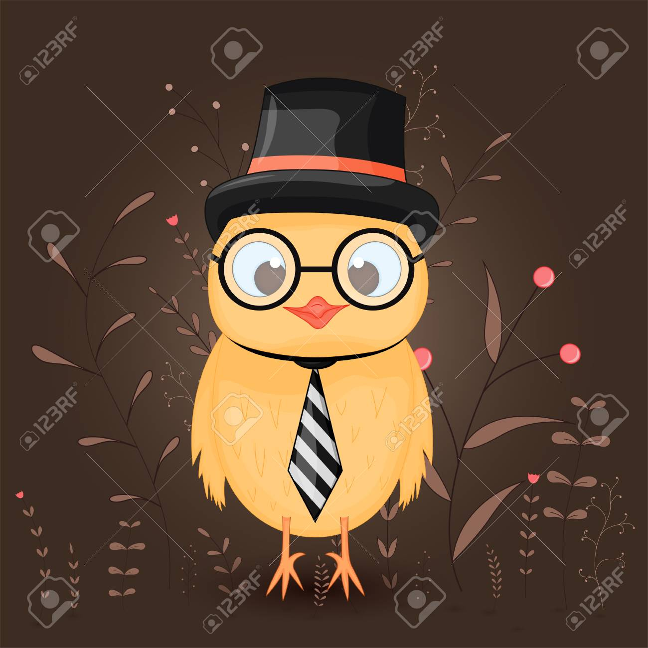 Gift Postcard With Cartoon Animals A Chicken In A Top Hat Tie