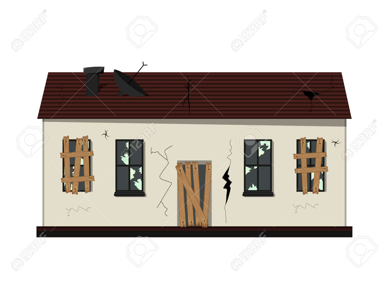 One-story old dilapidated house before renovation. Cartoon style. Vector illustration - 160182212