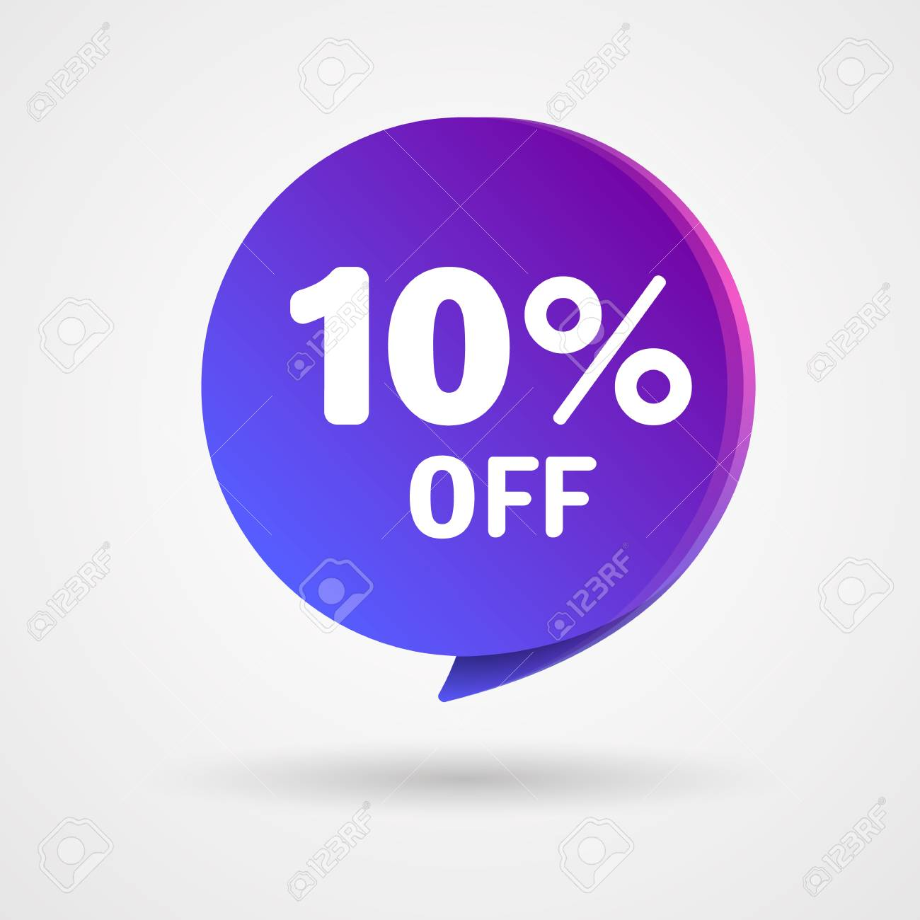 10% OFF Discount Sticker. Sale blue and purple Tag Isolated Vector Illustration. Discount Offer Price Label, Vector Price Discount Symbol. - 101973805