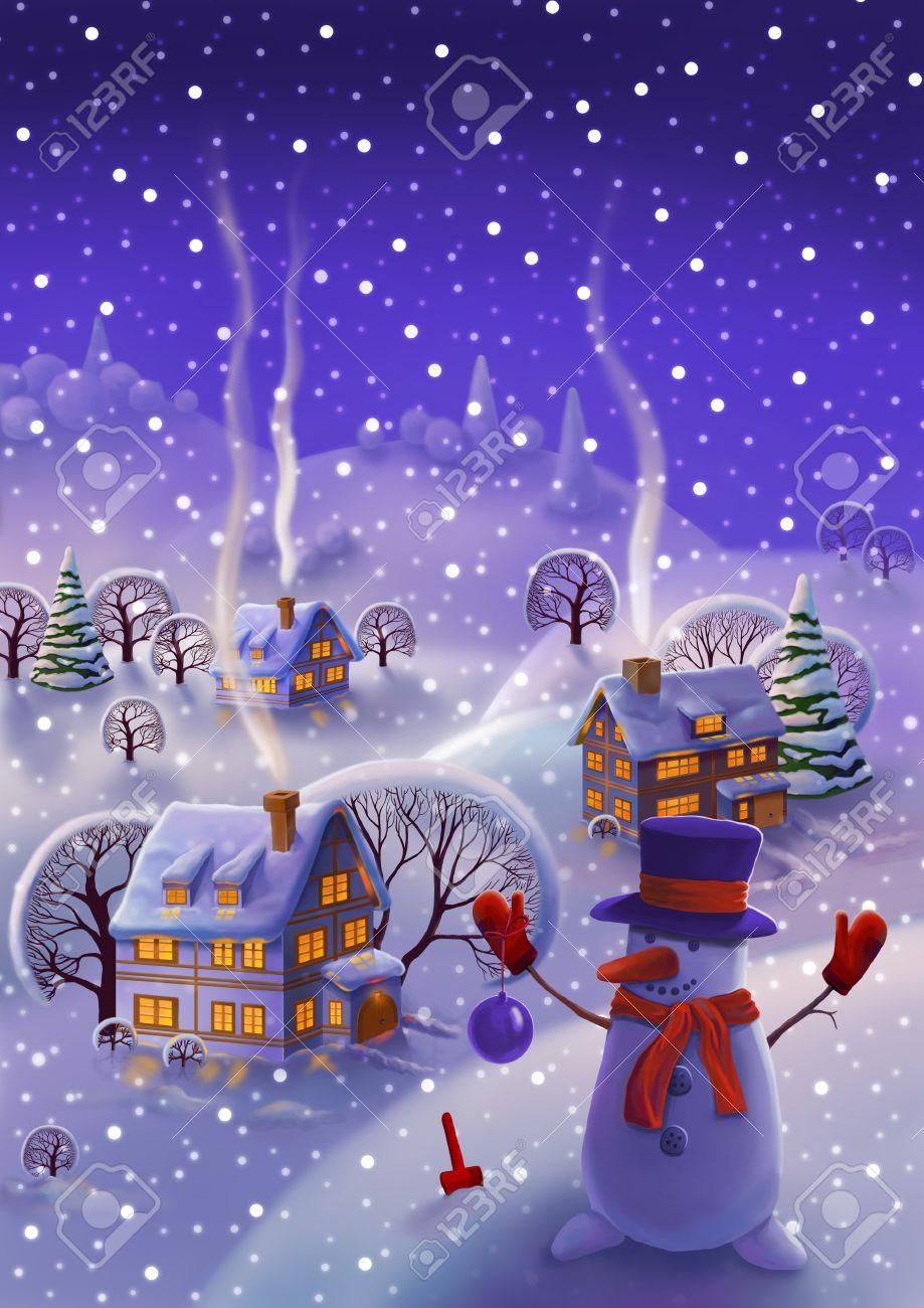 Winter-Landschaft, Märchen Schnee Weihnachten Hintergrund ...