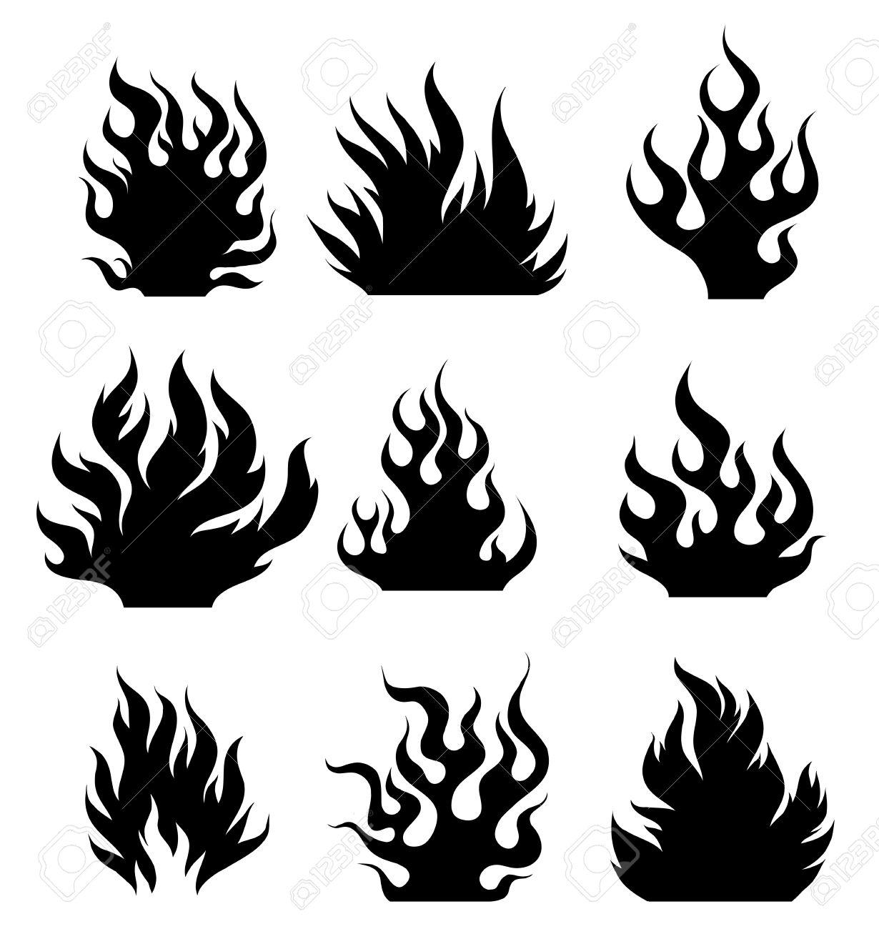 Establecer Los Elementos De Diseño De Fuego Blanco Y Negro Og Para