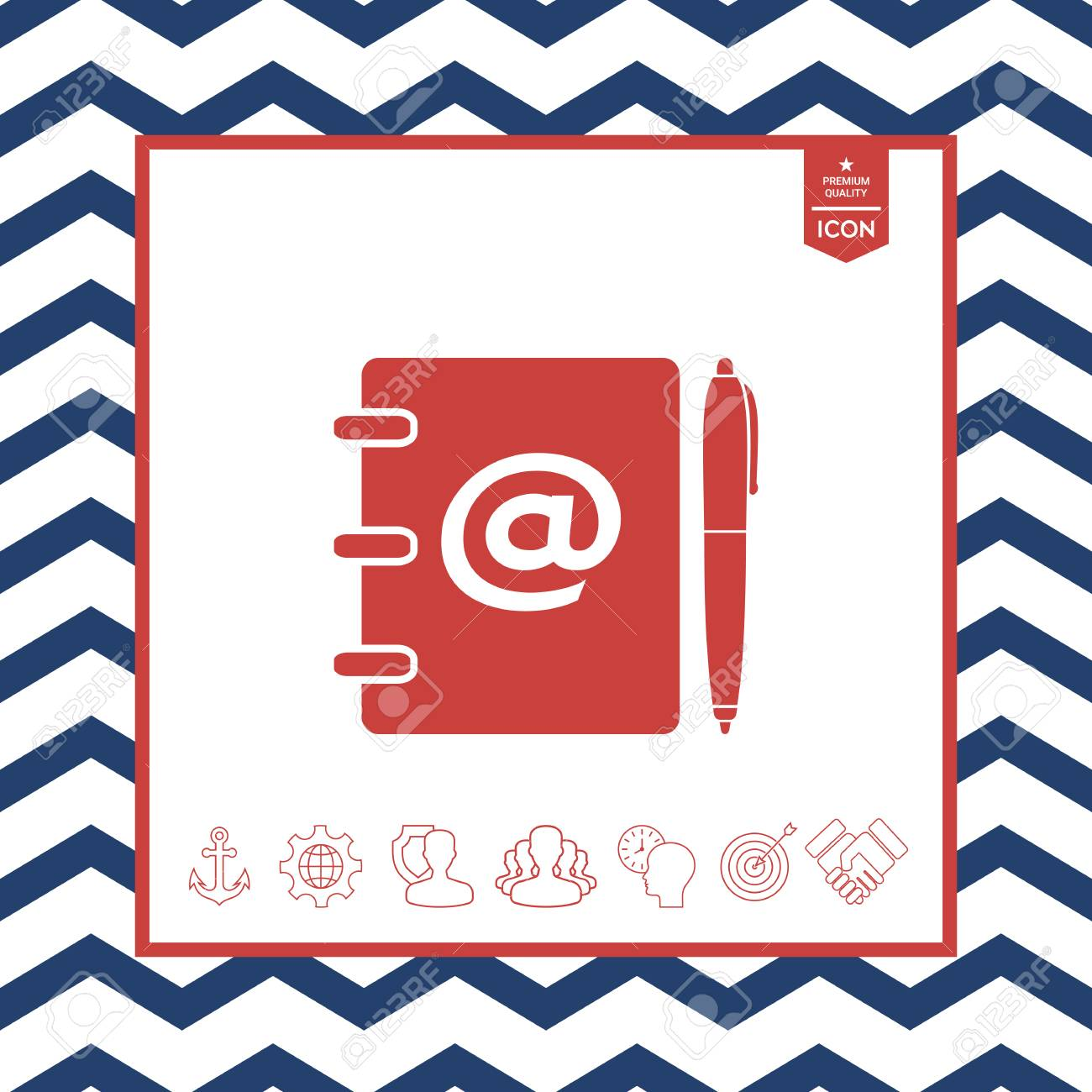 Notebook Address Phone Book With Email Symbol And Pen Icon Royalty