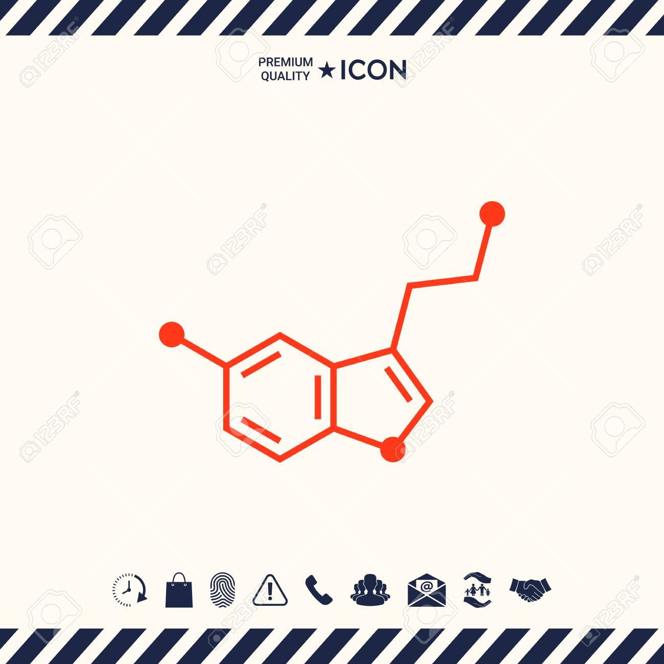 Chemical formula icon. Serotonin - 89313932