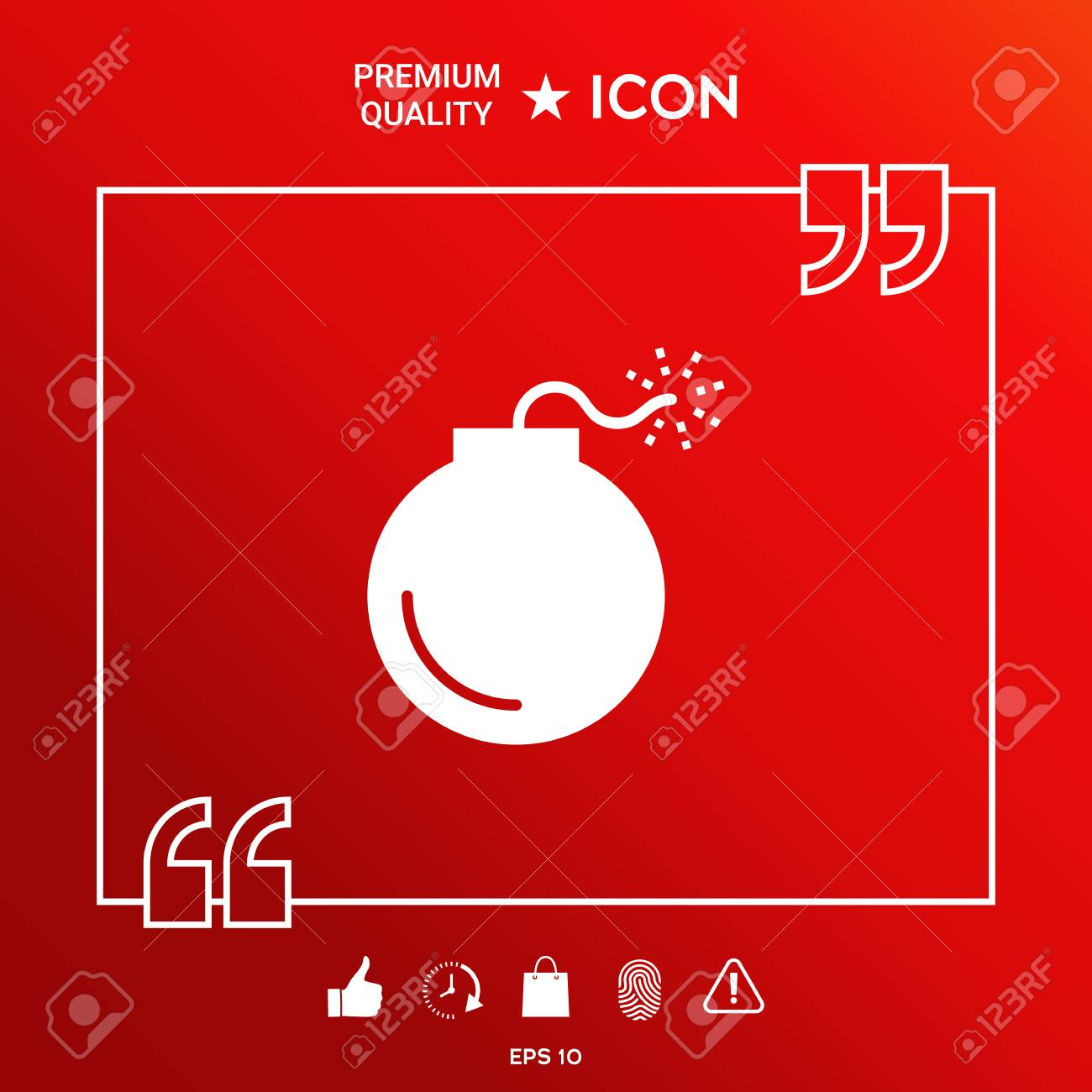 Bomb Symbol Icon In White Border On Red Background With Web Icon