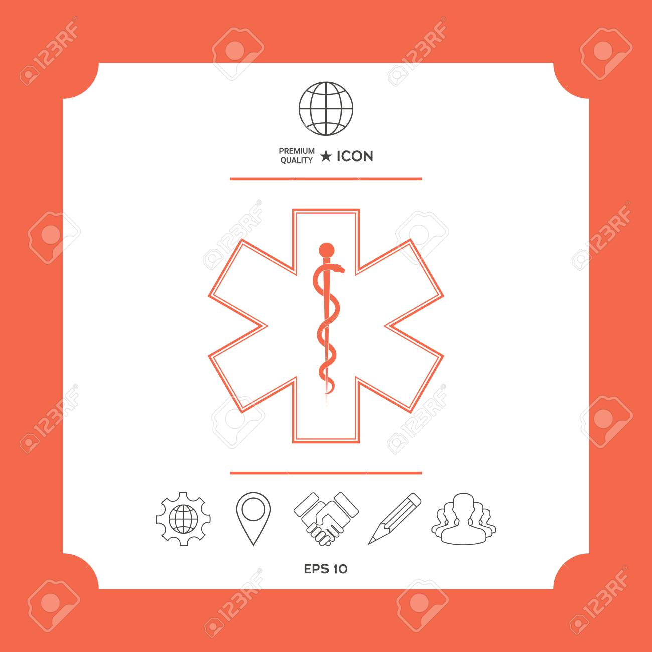 Medical Symbol Of The Emergency Star Of Life Icon In White Square