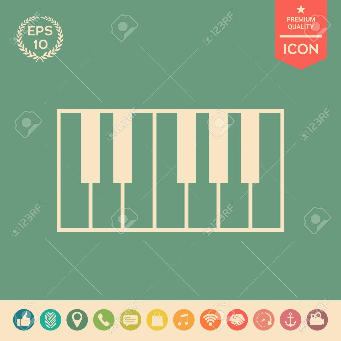 Piano Keyboard Icon Signs And Symbols Graphic Elements For