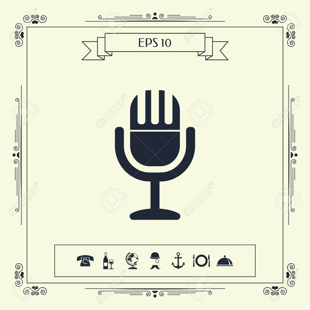 vector - vintage microphone symbol icon   signs and symbols - graphic  elements for your design