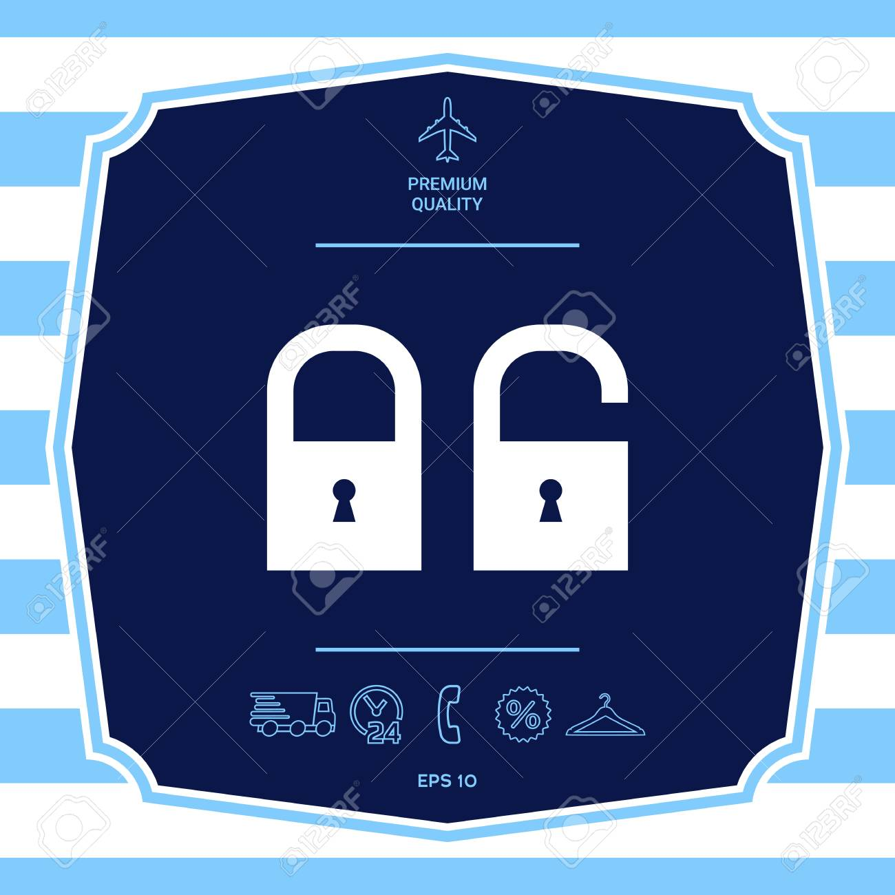 Lock, unlock - set icon. Graphic elements for your design - 112750171
