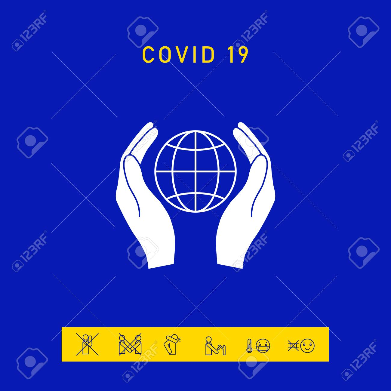 Hands holding Earth. Protect icon - 144755152