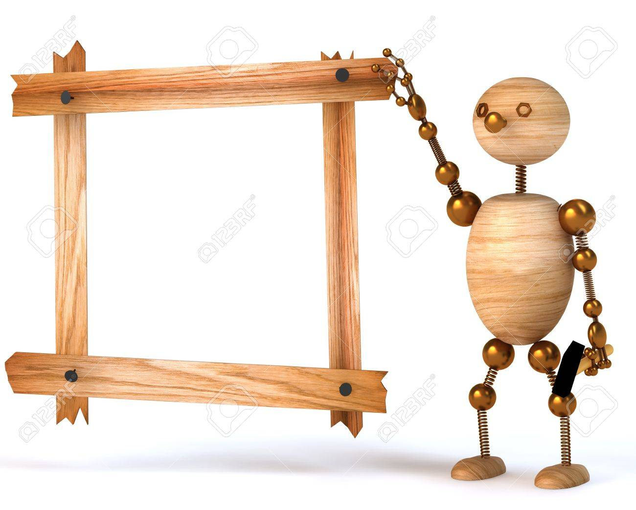 wood man blank  board 3d rendered for web and commercial Stock Photo - 8539009
