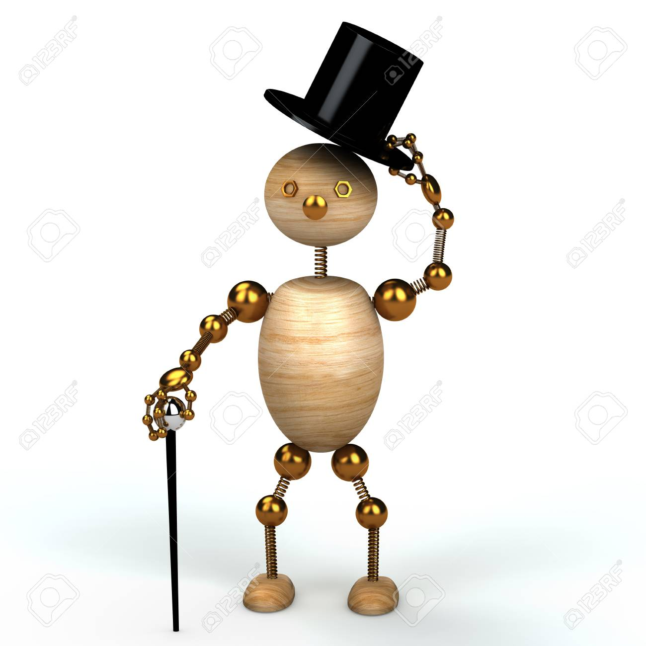 Gentelman wood man 3d rendered for web Stock Photo - 8583554