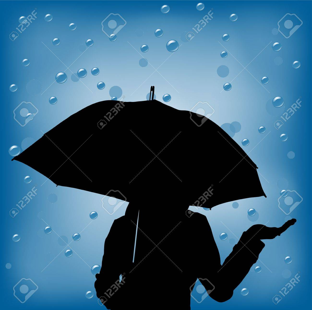 young woman in a rainy day holding ubrella Stock Photo - 9032610
