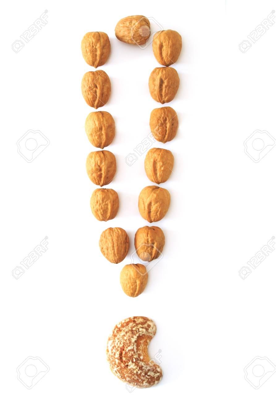 nuts exclamation mark isolated on white background Stock Photo - 9102455