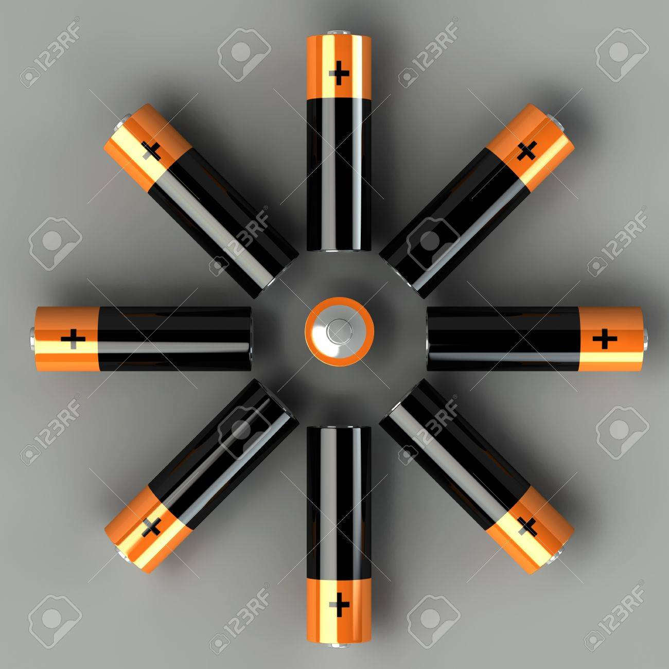 3d set of battery on the grey background Stock Photo - 9299367