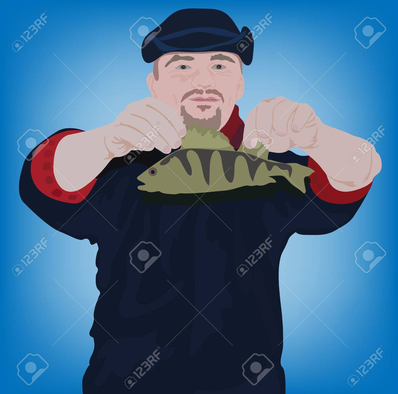 vector illustration of the happy fishman with fish Stock Illustration - 9586247