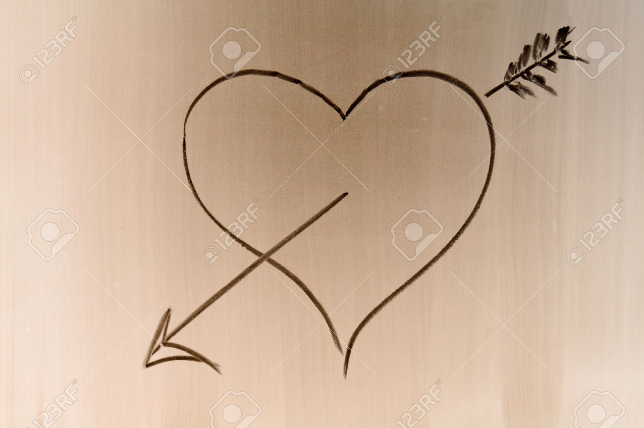 Someone Draw Shaded Love Symbol On School Desk Stock Photo Picture