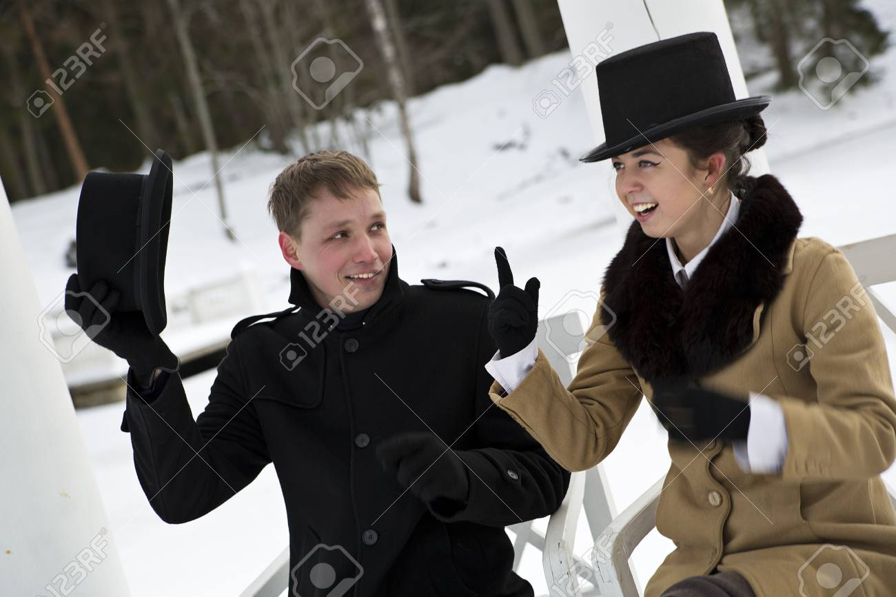 Man take off hat when woman making point Stock Photo - 17785464