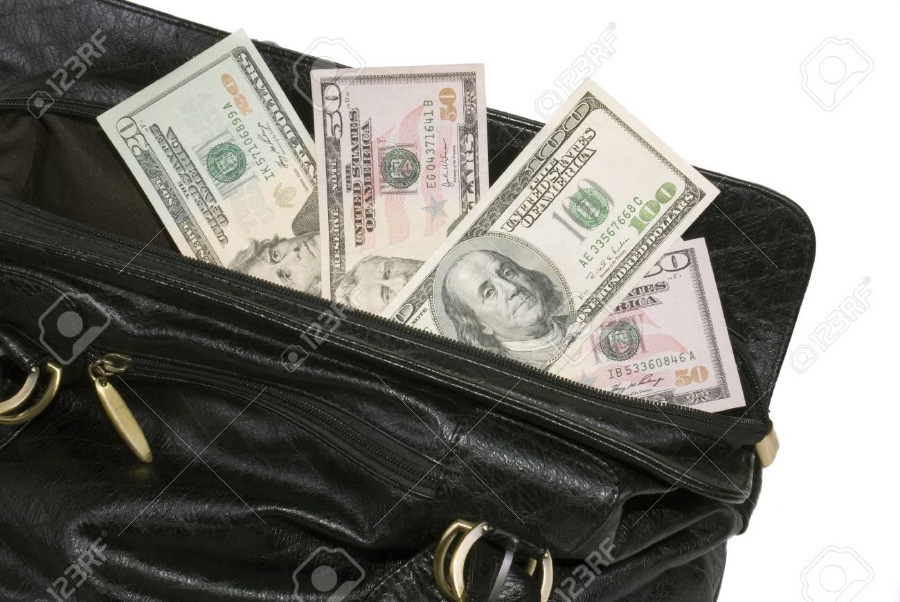 Money Bag Black And White Money in Big Black Bag