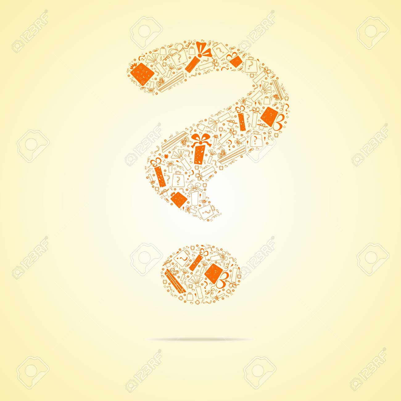 Orange question from gifts. Stock Vector - 10535868