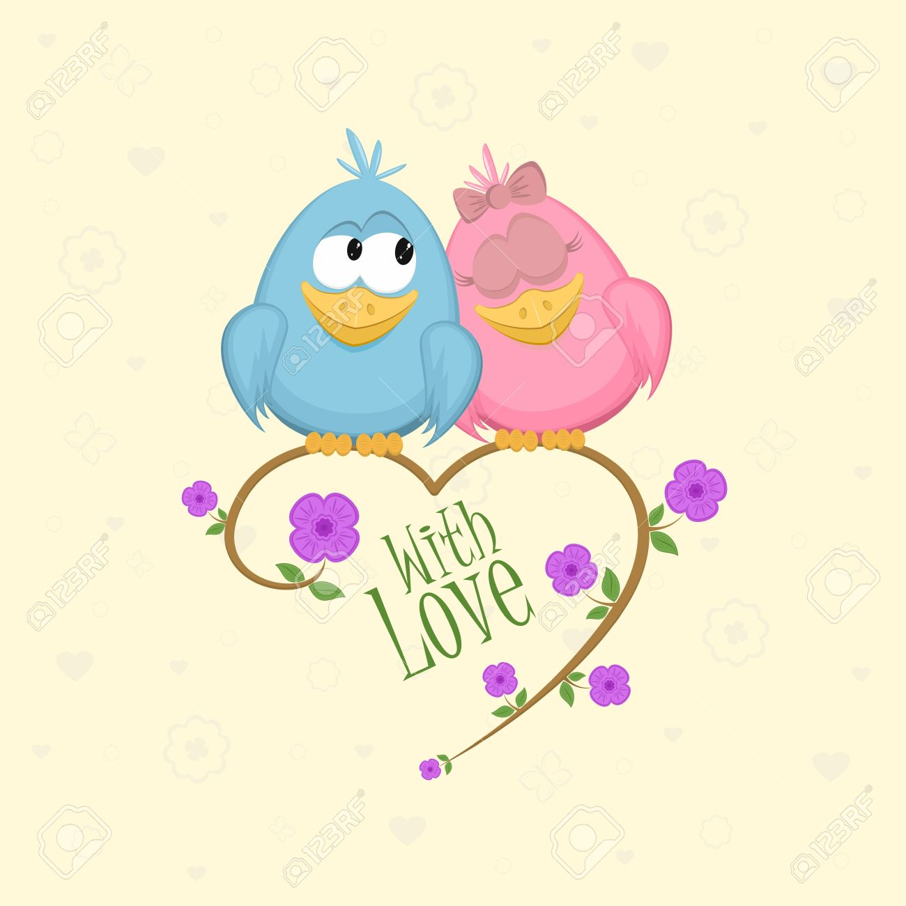 Love birds on the branch, vector illustration Stock Vector - 11674856