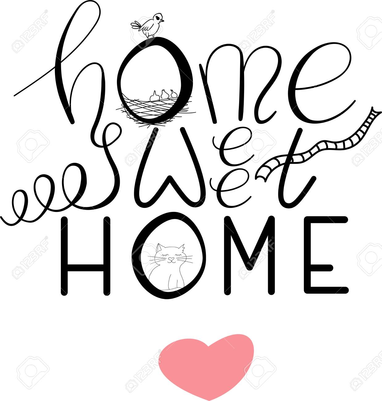 picture regarding Home Sweet Home Printable referred to as Vector printable lettering Household lovable property upon white history