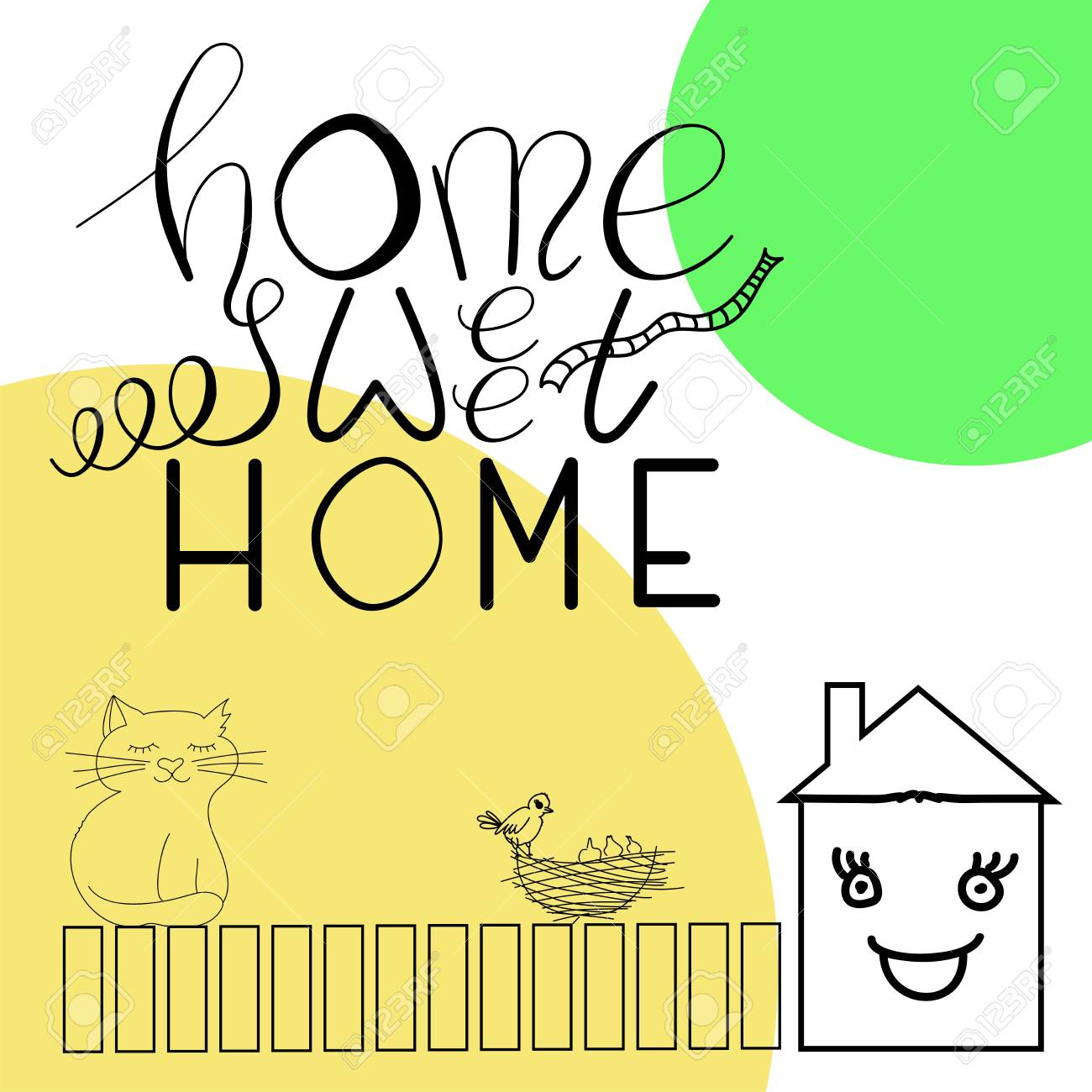 picture relating to Printable Lettering known as Vector printable lettering Household lovable household upon white, yellow and..