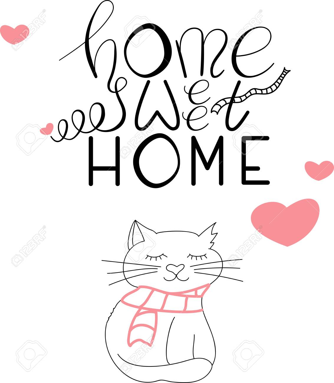 picture relating to Printable Lettering known as Vector printable lettering Property lovable property and a cat with scarf..