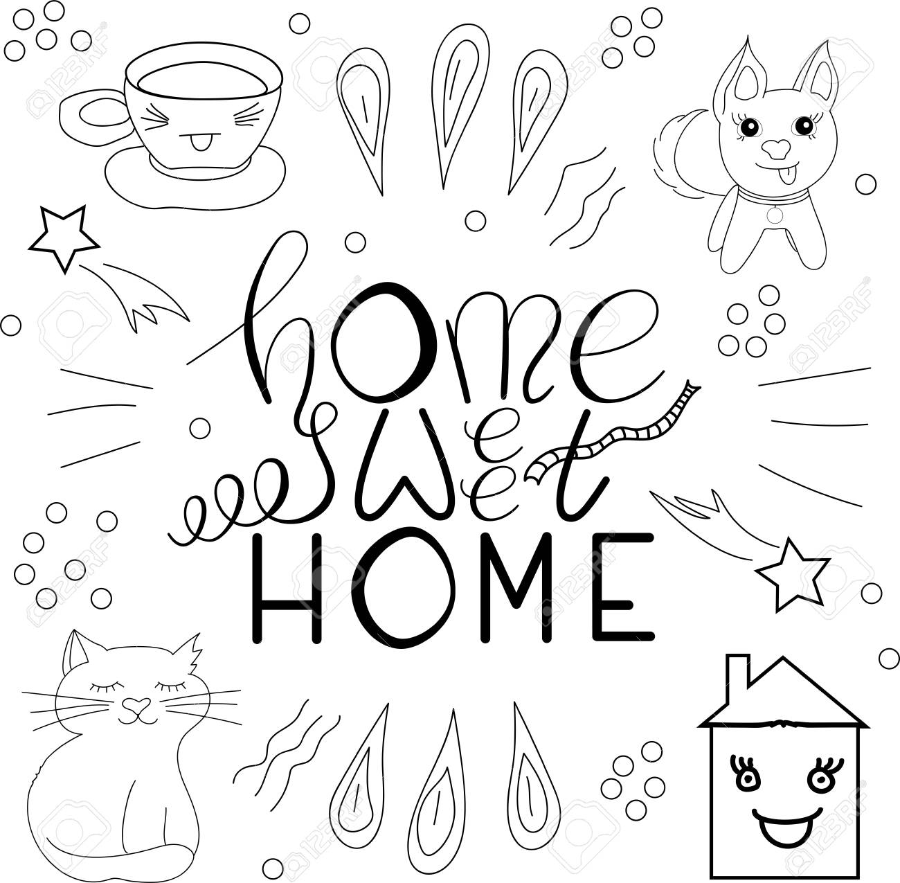 photo relating to Printable Lettering known as Vector printable lettering Residence adorable household upon white heritage