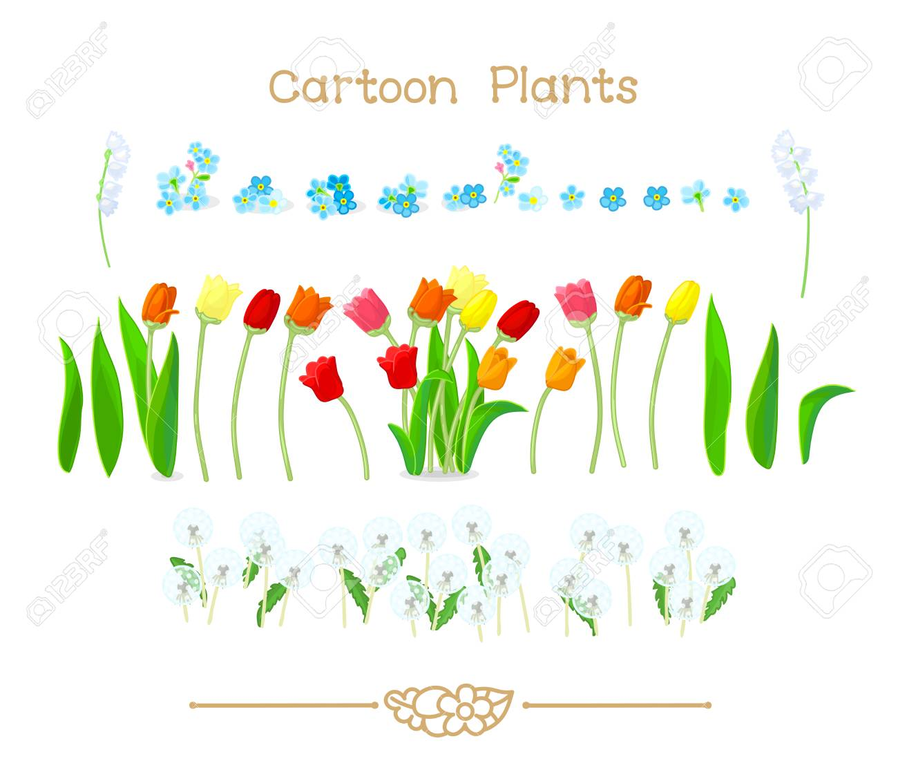 Illustration Collection Cartoon Plants Spring Tulips Flowers