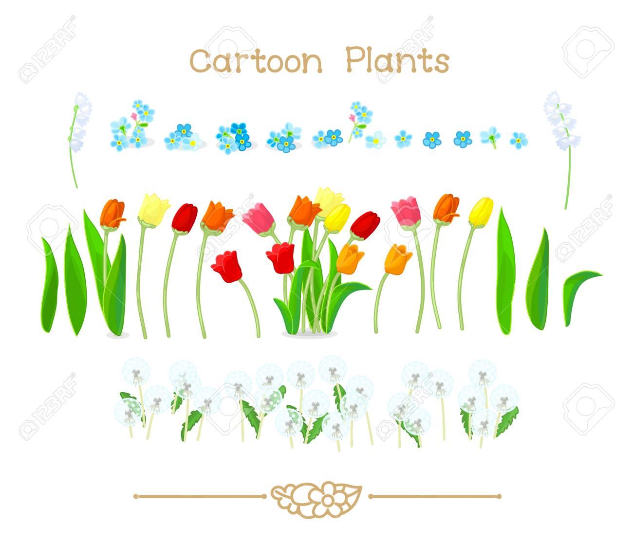 Illustration Sammlung Cartoon Pflanzen Frühling Tulpen Blumen