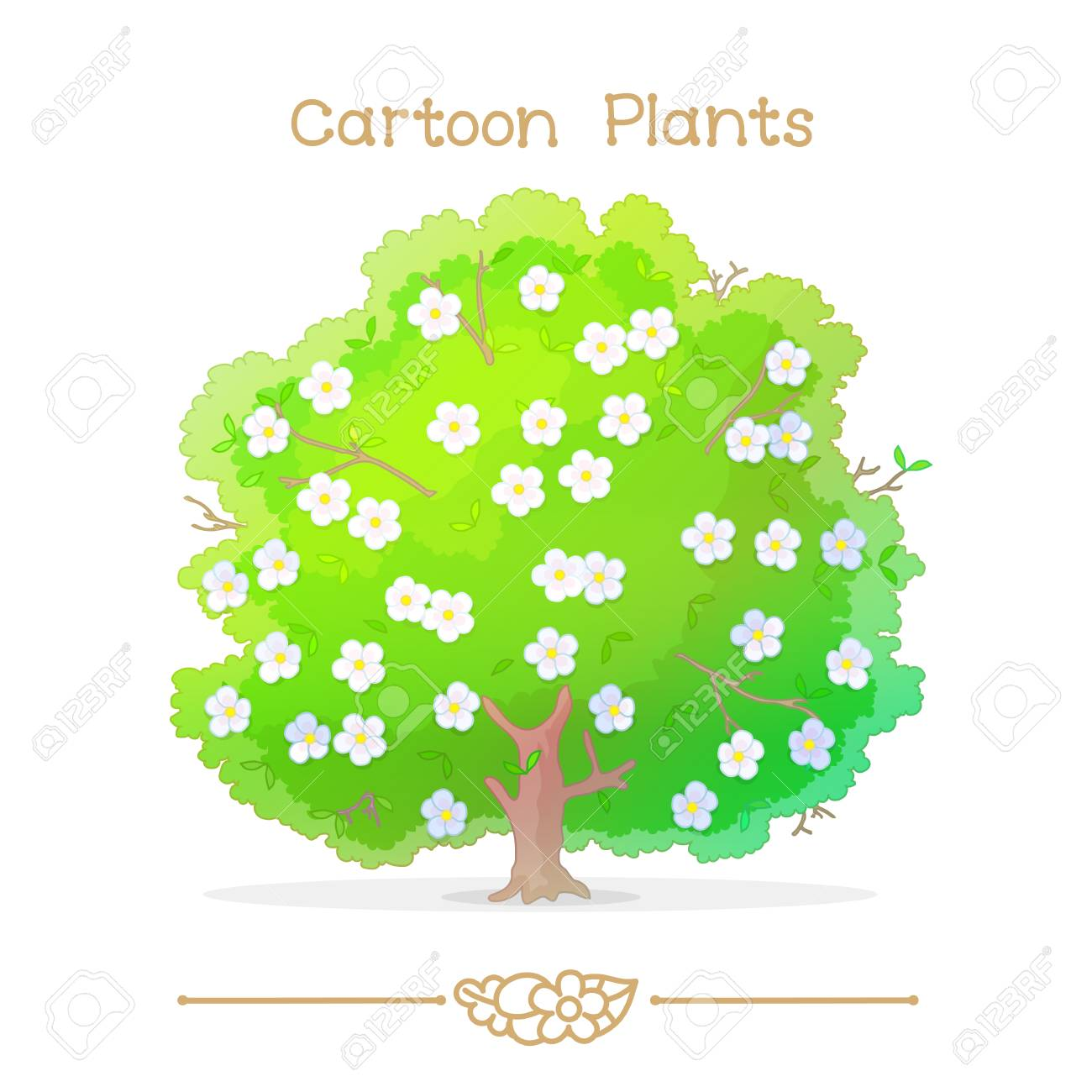 Illustration Sammlung Cartoon Pflanzen Frühling Blühender Baum