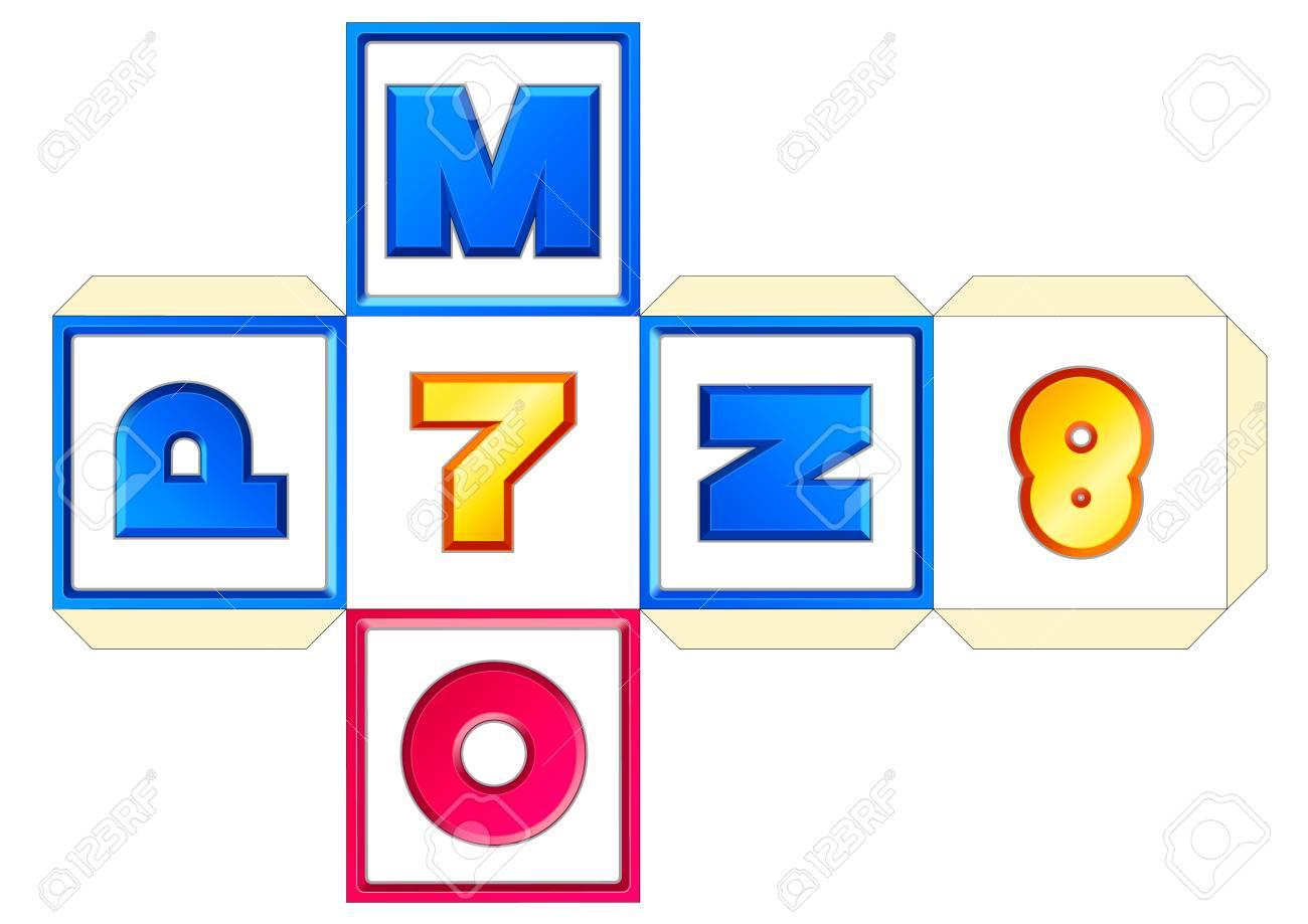 Schema De Cube De Papier De Vecteur 26 Lettres Az Abc Alphabet