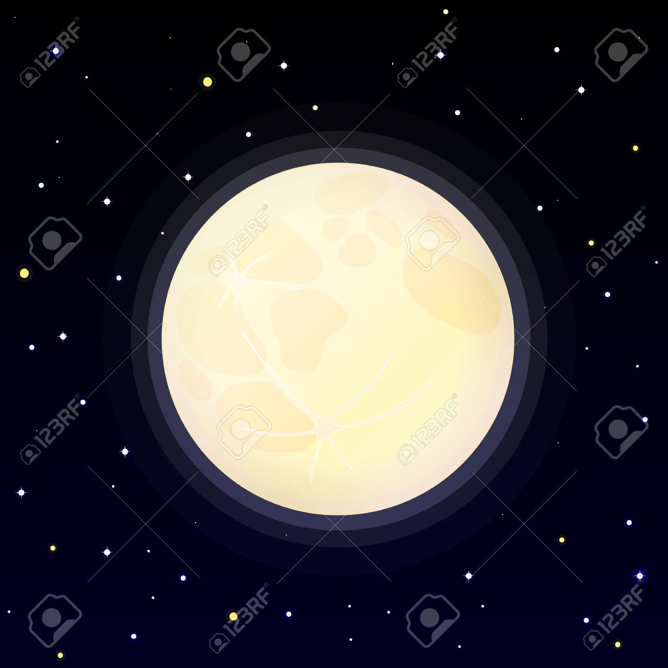 vector cartoon full moon phase  Luna, moonlight, celestial, crater,