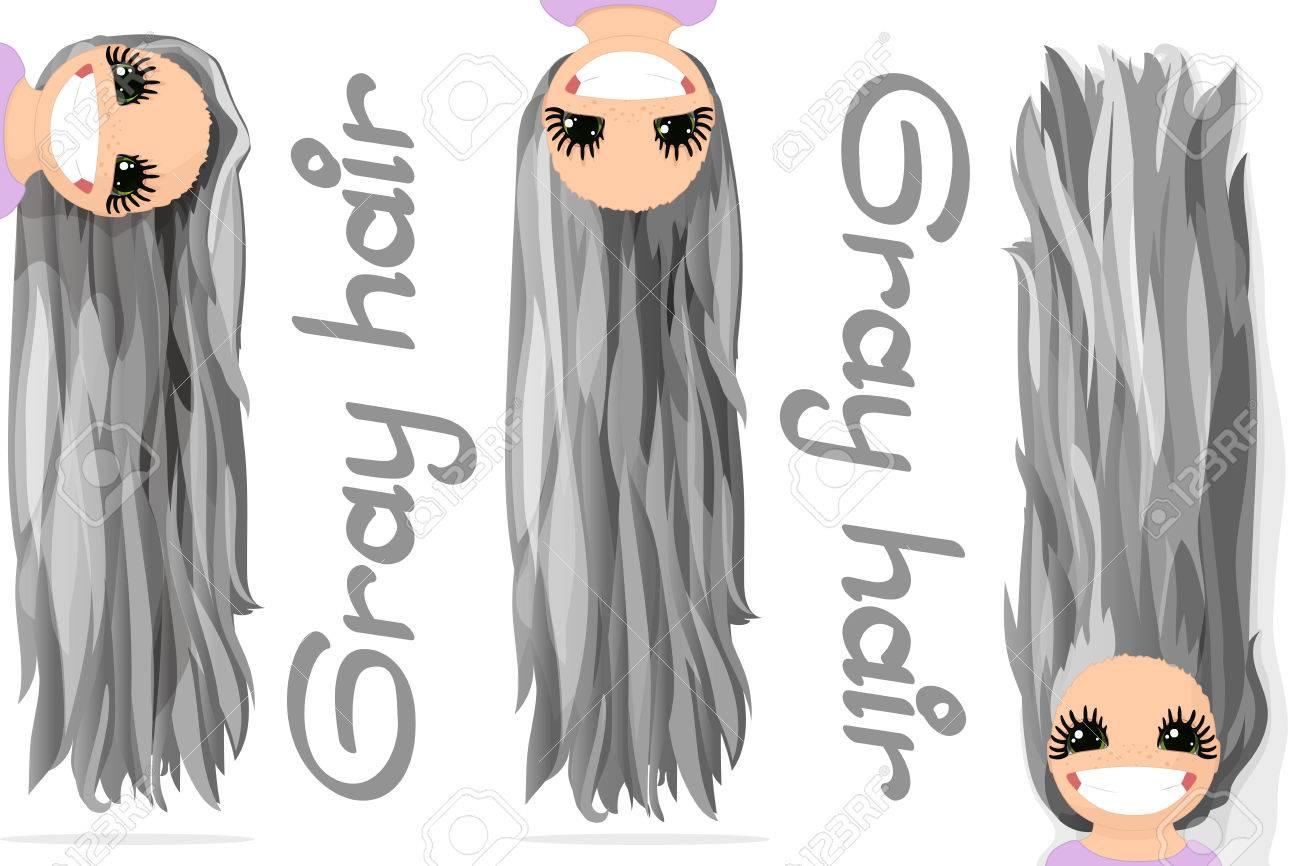 ベクターグラフィックスの女の子 灰色の髪 緩やかな長いストレート髪 自然な髪型 遊び心のある女の子のイラスト 女の子の漫画 のキャラクター 透明な背景に分離された手描き下ろし画像のイラスト素材 ベクタ Image
