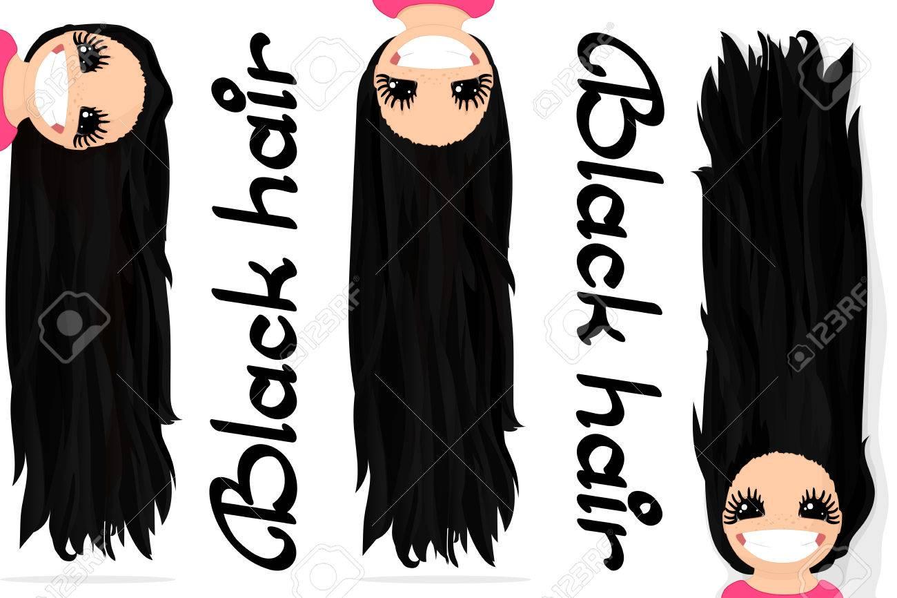 Graphiques De Vecteur De Filles Cheveux Noirs Longs Cheveux Laches
