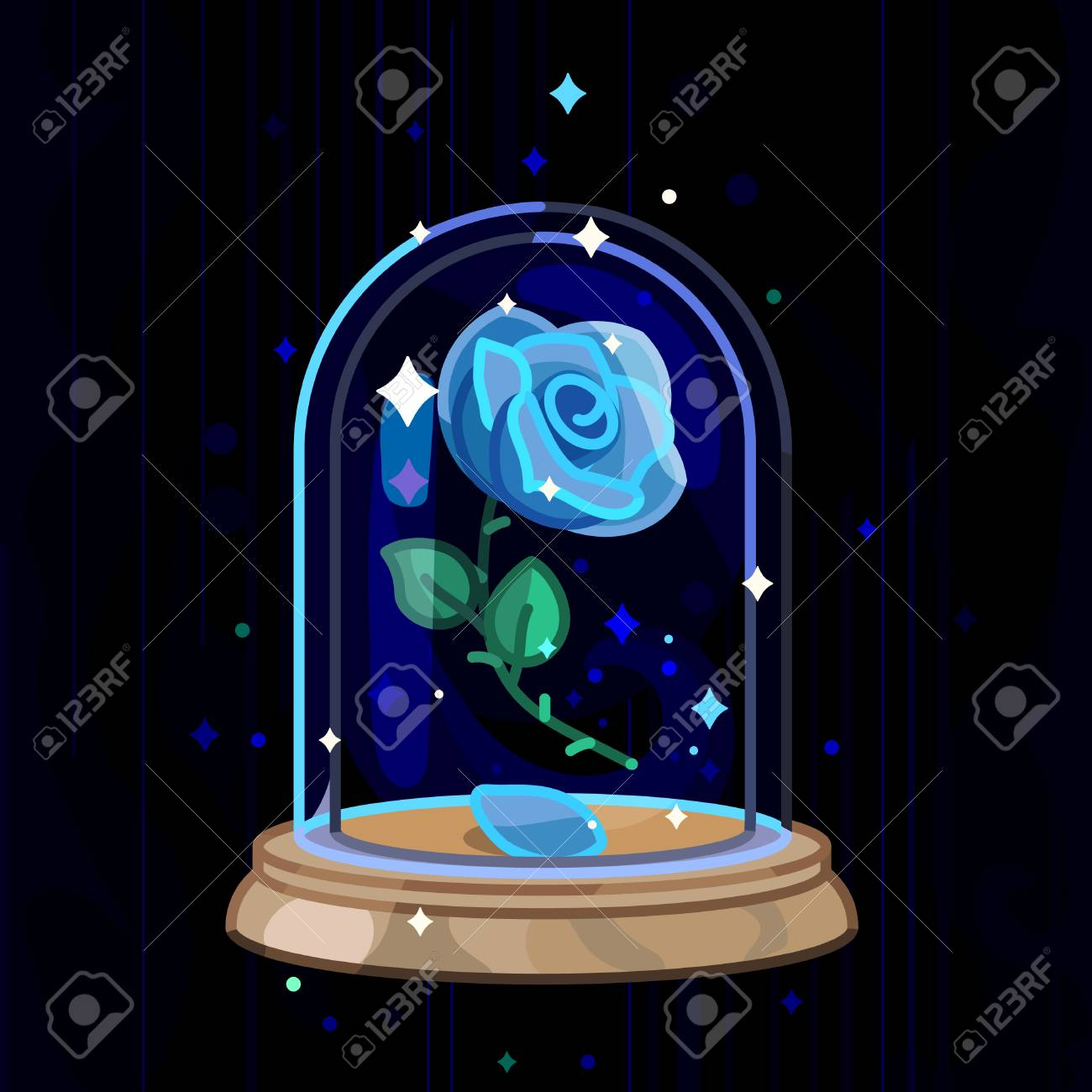 Vector Beauty And Beast Blue Rose Glass Dome Royalty Free Cliparts