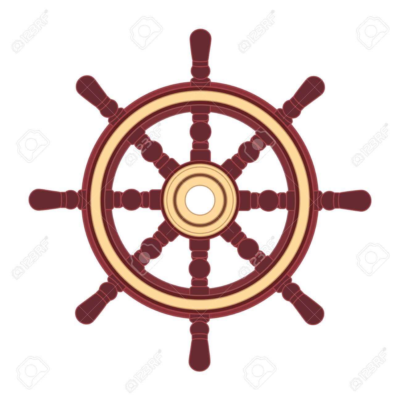 vector boat handwheel, ship wheel helm. Sea, ocean symbol - 124415622