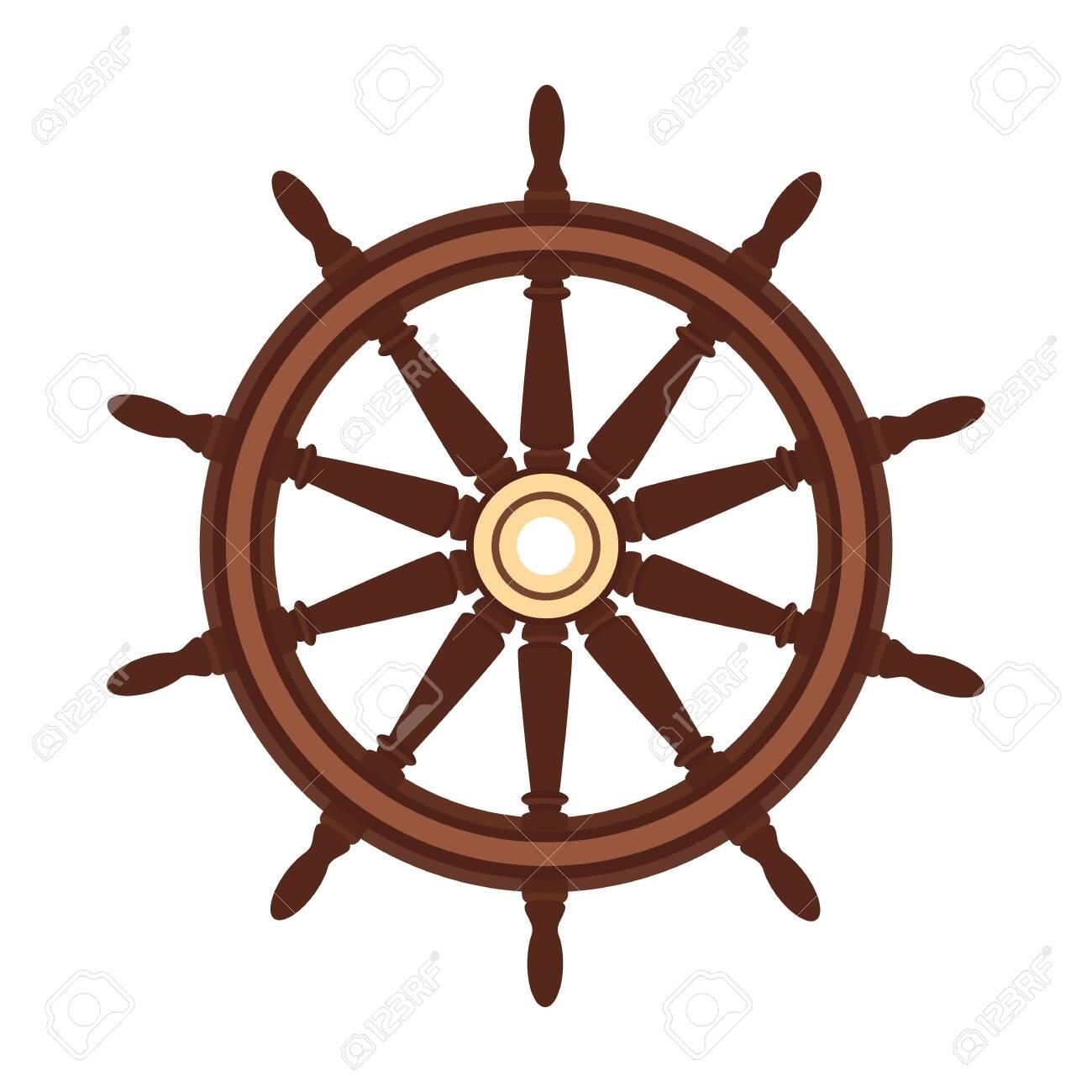vector flat boat handwheel, ship wheel helm. Sea, ocean symbol - 124575238