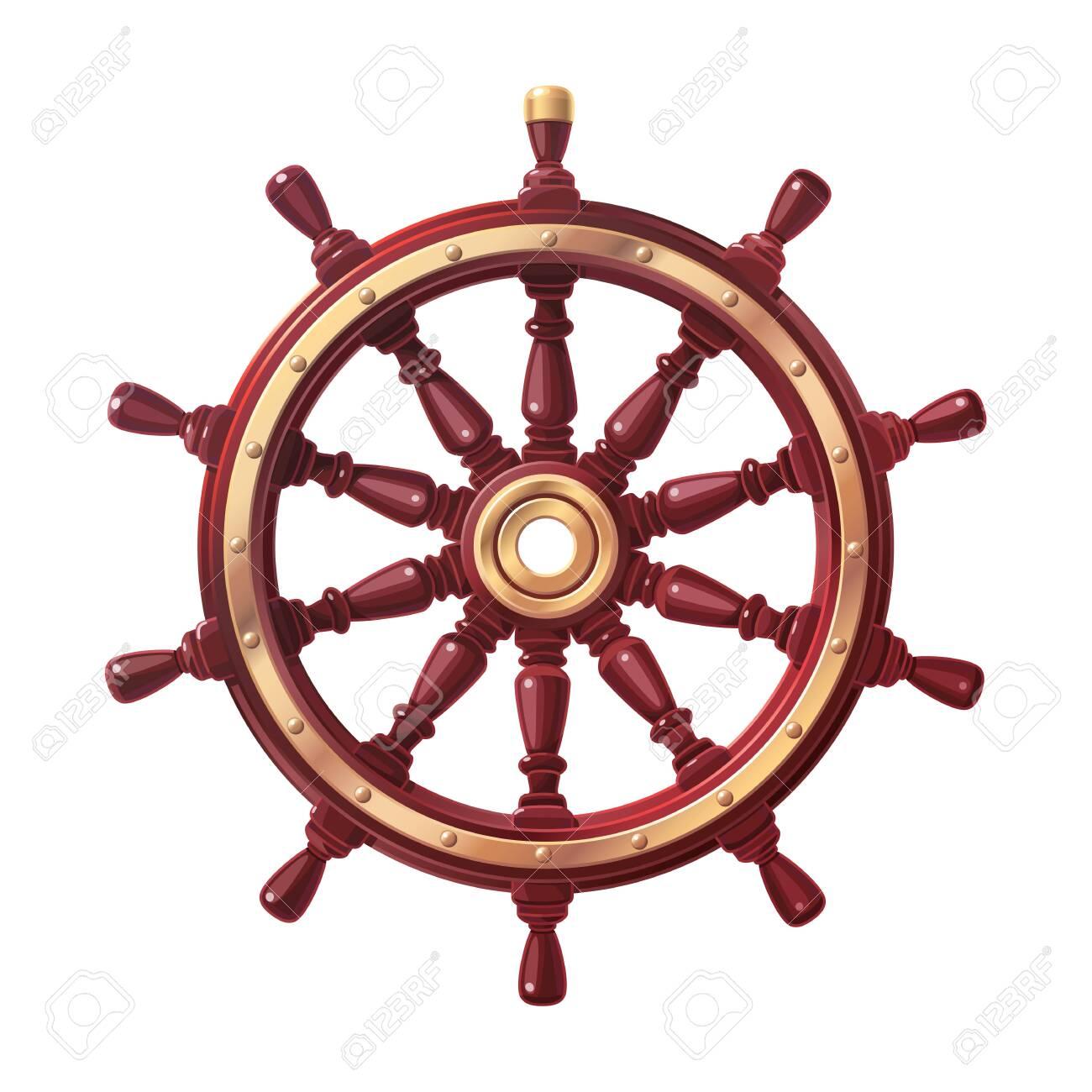 vector boat handwheel, ship wheel helm. Sea, ocean symbol - 124575654